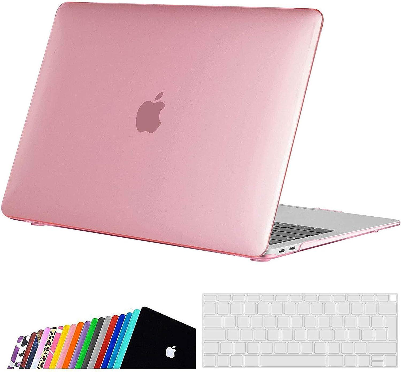 iNeseon Funda para MacBook Air 13 Retina (A2337 M1/ A2179/ A1932), Delgado Carcasa Case Duro y Cubierta del Teclado para 2020 2019 2018 MacBook Air 13 Pulgadas con Touch ID, Rosa Cristal