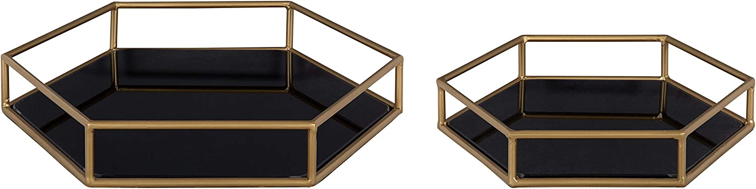 Kate and Laurel Felicia Modern Glam 2-Piece Nesting Metal Mirrored Decorative Accent Trays, Gold and Black