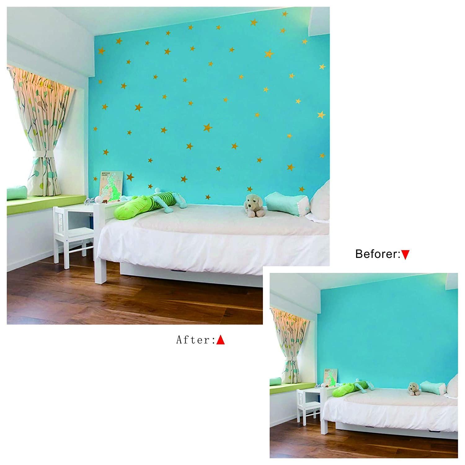 148pcs Gold Stars Wall Stickers for Bedroom,Baby Nursery Decor Wall Stickers for Kids,Boys Girls Room Wall Decals Decoration