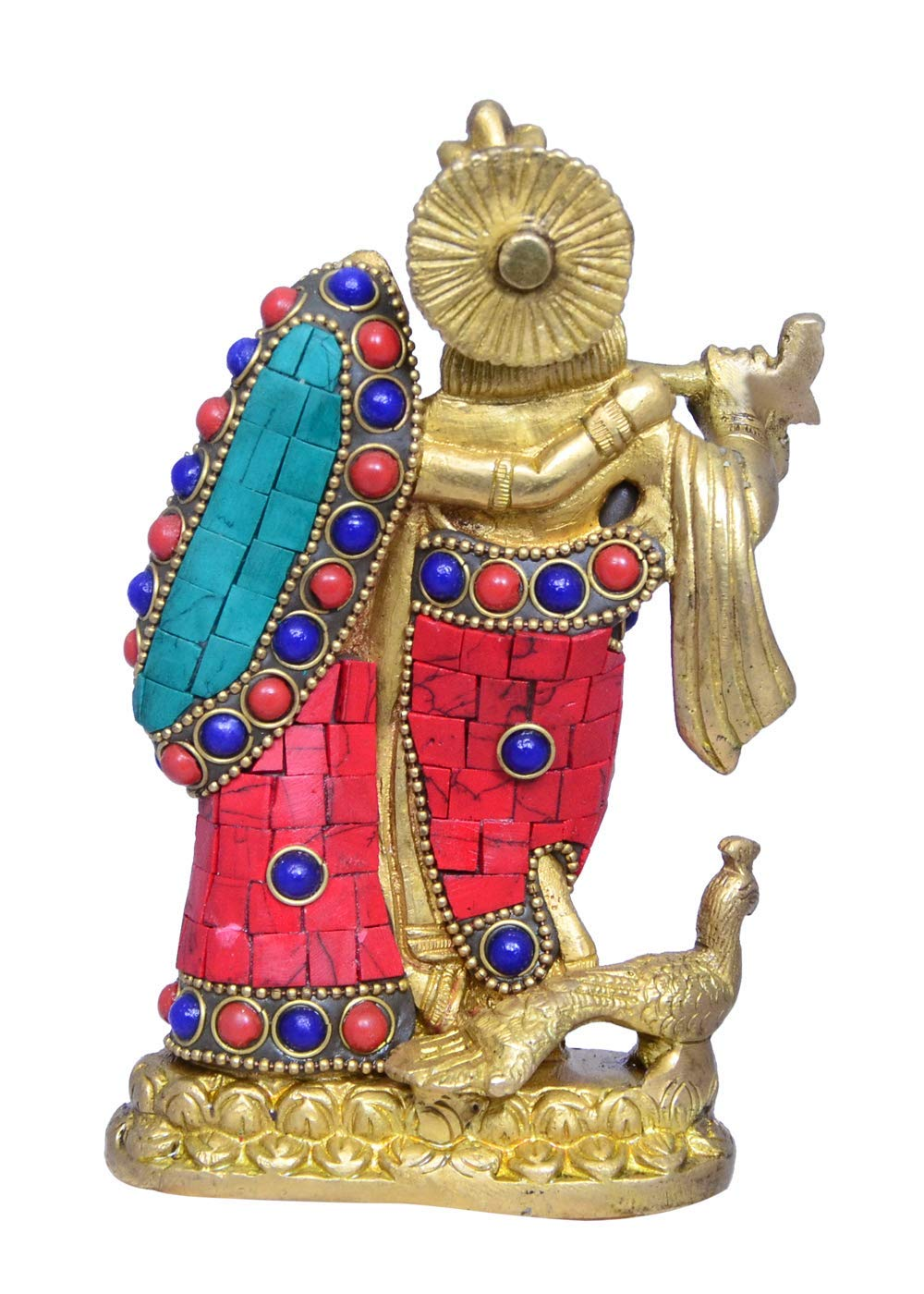 Radha-Krishna Brass Metal Statue Idol with Gemstones for Home Temple House Warming Gift /& Home Decor Office Table or Shop Mandir Puja Shelf Hindu Religious Gift