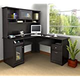 Cabot L Shaped Desk with Hutch in Espresso Oak