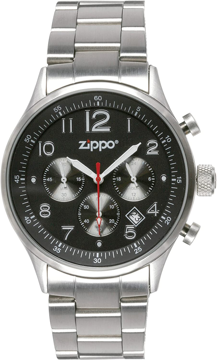 Zippo Sports Watch with Chronograph Black Dial and Solid Stainless Steel Band, Black
