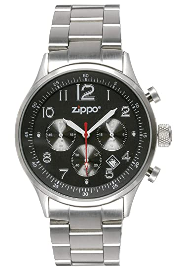 Zippo 45001 - Reloj de cuarzo para hombre con correa de acero inoxidable, color plateado