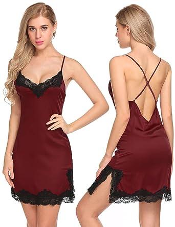 Goldenfox Womens Sleepwear Dress V Neck Nightgown Satin Pajamas (Wine Red, Small)