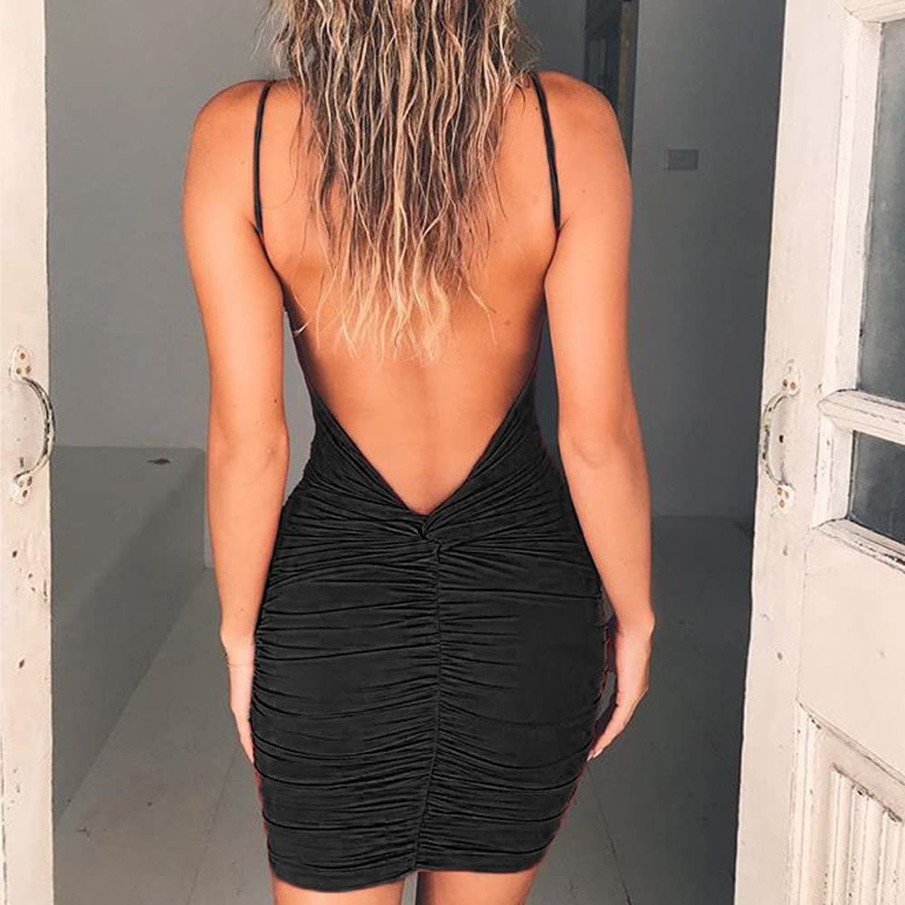 Women Summer Casual Backless Dress Evening Party Sleeveless Mini Slim Dresses