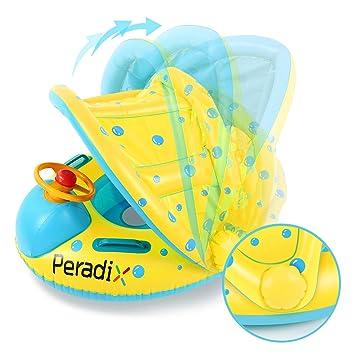 Peradix Flotadora para bebés 6meses-3 Años Barco Inflable Flotador con Asiento Respaldo Techo Ajustable Juguetes de Desarrollo de Natación en Agua para ...
