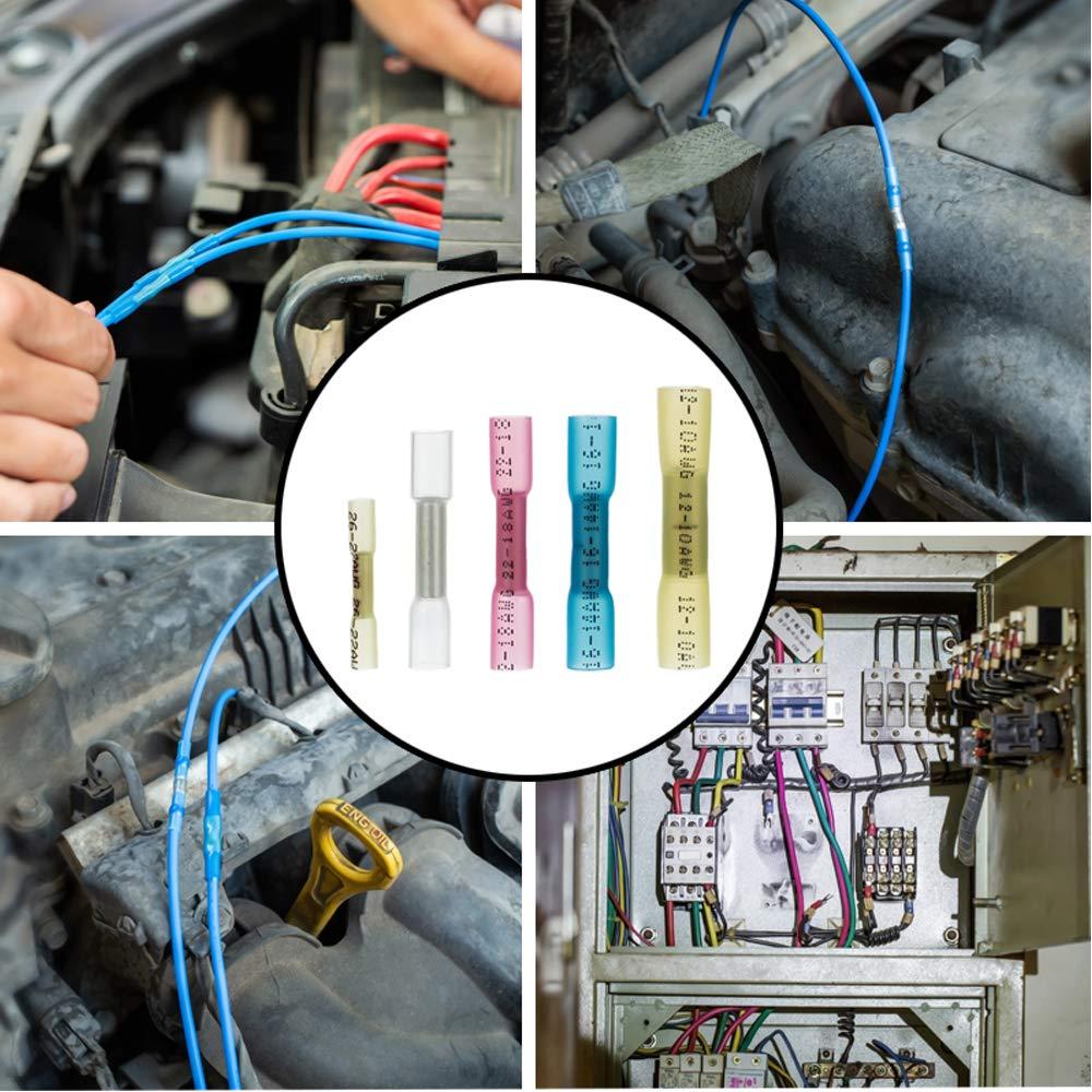 Heat Shrink Butt Connectors 128pcs Electrical Crimp Heat Shrink Wire Connectors Kit Marine Automotive Wire Crimp Terminals Butt Splice Set for 10~12 14~16 18~22 24-26AWG