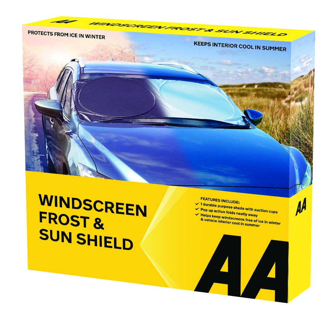 AA Windscreen Frost and Sun Protection Shield & Kent KCG401 Microfibre Demist Pad