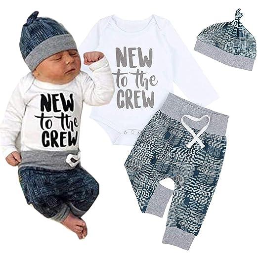 78e7dd69386 Amazon.com  Cute 3pcs Newborn Baby Boys Girl Letter Crew Print Romper  Geometric Pants Hat Outfits Set (Blue