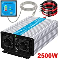 CARRYBATT Inversor de Corriente de Onda sinusoidal Pura 2500W/5000W Convertidor DC 12V a AC 220V 230V con Mando a Distancia & Salidas de AC duales y Puerto USB