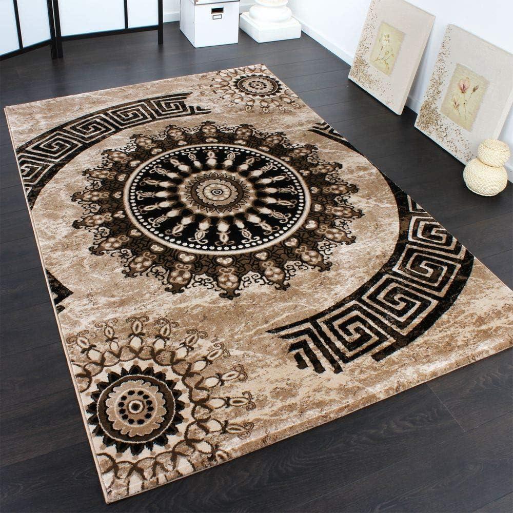 Paco Home Teppich Klassisch Gemustert Kreis Ornamente in Grau Schwarz Meliert Gr/össe:80x150 cm