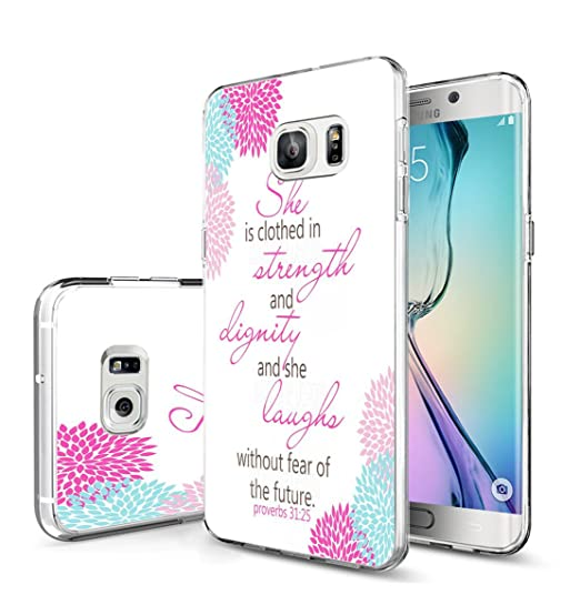 new concept 46632 61547 Galaxy S7 Edge Case Christian Design/IWONE Non Slip Durable Compatible  Transparent Cover Shockproof Replacement for Samsung Galaxy S7 Edge +  Proverbs ...