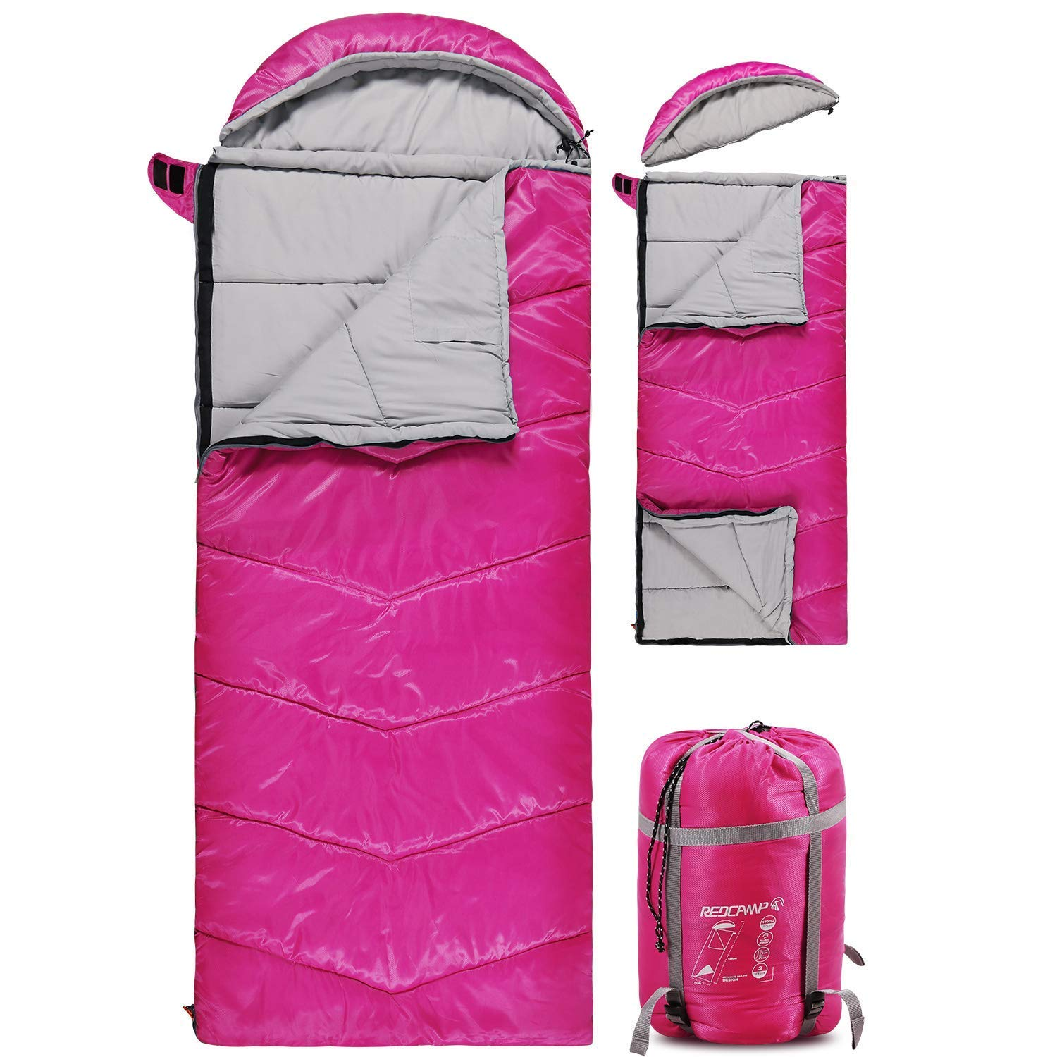 REDCAMP Kids Sleeping Bag for Camping with Detachable Hood, 32 Degree 3 Season Warm or Cold Weather Fit Boys, Girls & Teens (Rose Red with 3.7lbs Filling) by REDCAMP
