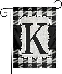 YANGHOME Monogram Initial K Burlap Garden Porch Lawn Flag Farmhouse Decorations Mailbox Decor Welcome Sign 12x18 Inch Small Mini Size Double Sided Flax Nylon Linen Fabric