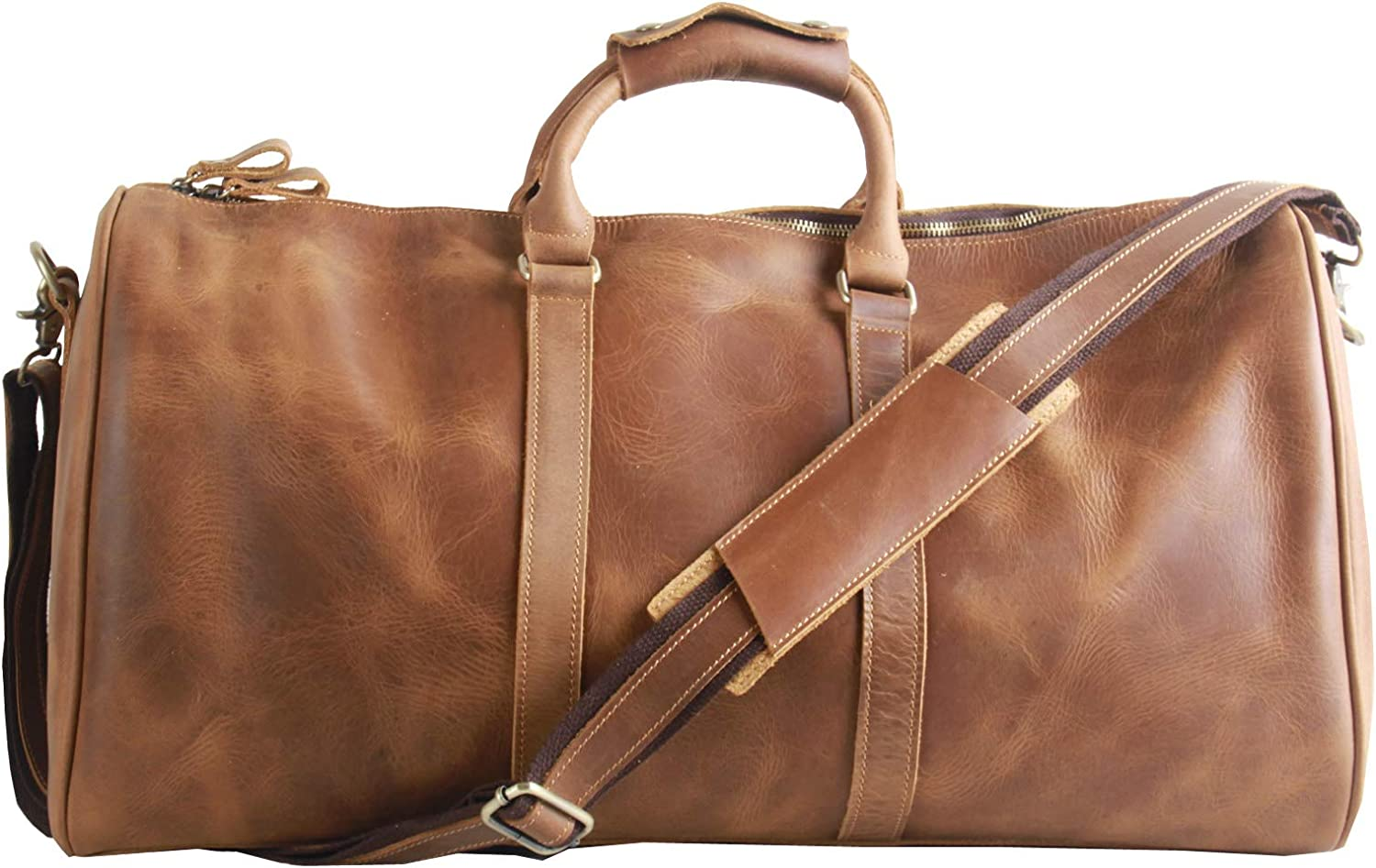 AKGOO Leather Duffel Bag For Men 21 Overnight Weekender Travel Carry On Luggage Bags Handbag Holdall Brown