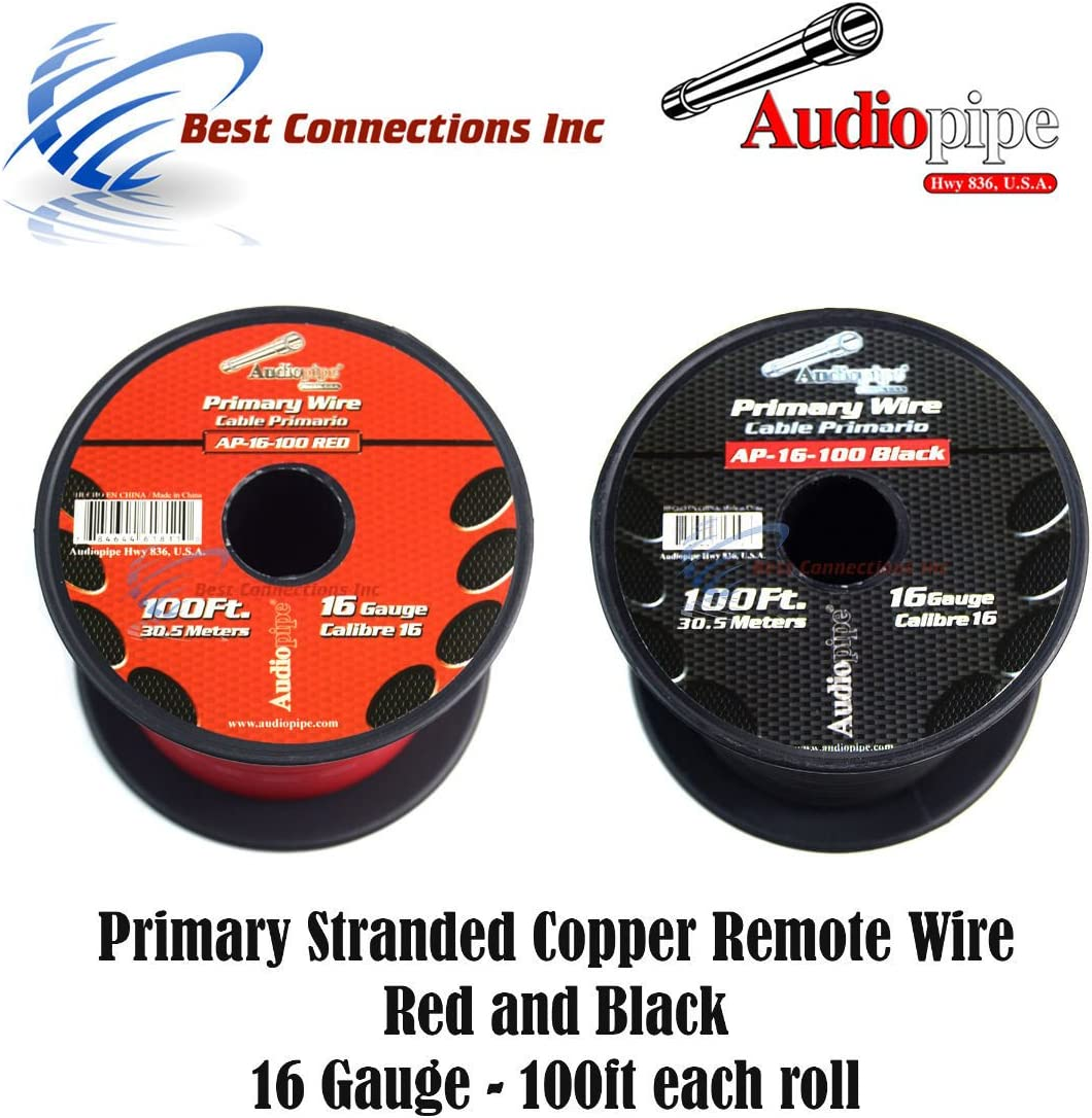 10 GAUGE WIRE RED /& BLACK POWER GROUND 100 FT EACH PRIMARY STRANDED COPPER CLAD