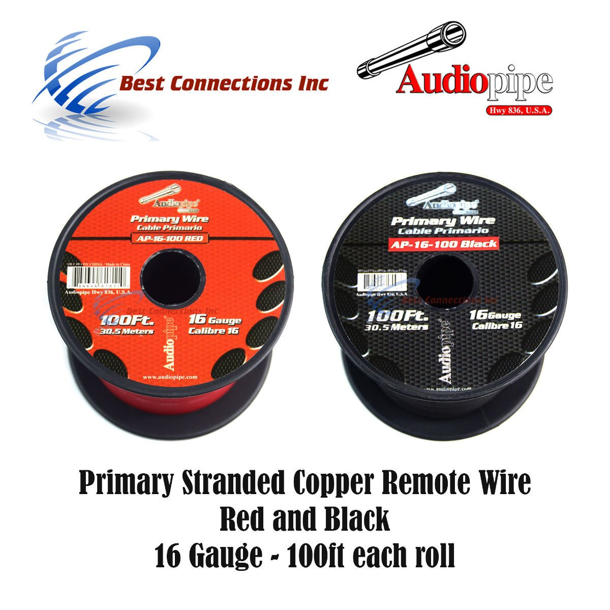 16 GAUGE WIRE RED & BLACK POWER GROUND 100 FT EACH PRIMARY STRANDED COPPER CLAD by Best Connections (Image #1)