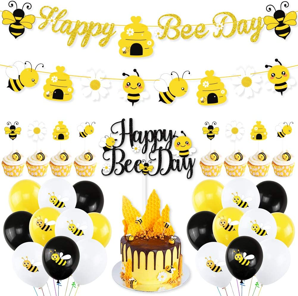 K KUMEED Bee Party Decorations Bee Party Supplies With Happy Bee Day Banner & Bumblebee Honeycomb Daisy Garland Happy Bee Day Cake Topper Bee Cupcake Toppers For Baby Shower Birthday Party Decor