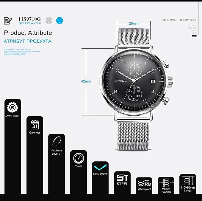 Amazon.com: Mens Business Dress Watches Quartz Chronograph Watches for Men: SHELISN9710B: Watches