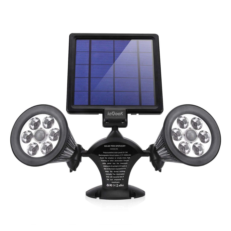 ieGeek Solar Garden Lights, Outdoor Motion Sensor Wall Lamp Spotlight Waterproof 600 Lumen Adjustable Securtity Lighting for Garage Driveway Patio Pond
