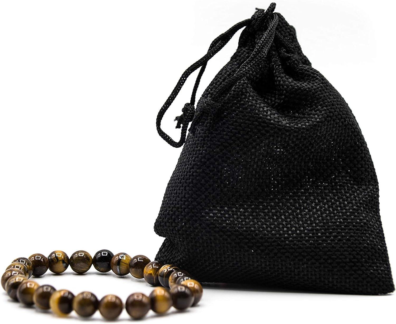 Pulsera Ojo de Tigre Hematita y Obsidiana Negra Natural pulsera Mujer Hombre con Bolsa Regalo [Energética Onix] 7,5cm ajustable Protección Espiritual elimina Estrés Ansiedad Chakra Joyas mujer Amuleto