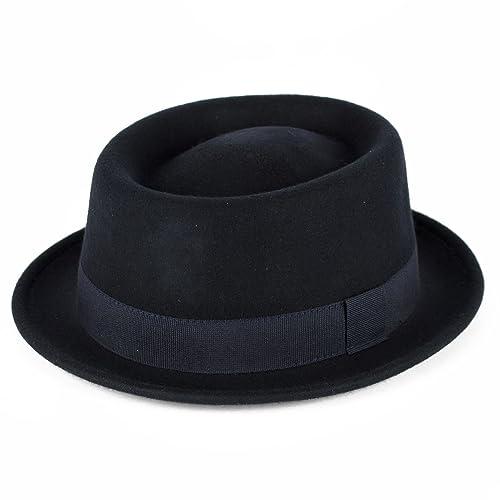 Cappello/Berretto Uomo/Donne/Unisex 100% Lana Pork Pie Hat Pianura Impermeabile & Crushable