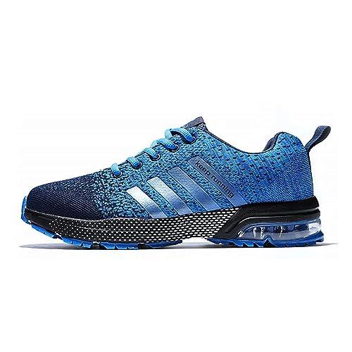 fcef751e70e75 Hombre Zapatillas Deporte Zapatos para Correr Athletic Cordones Air Cushion  Running Sports Sneakers Blue EU40  Amazon.es  Zapatos y complementos