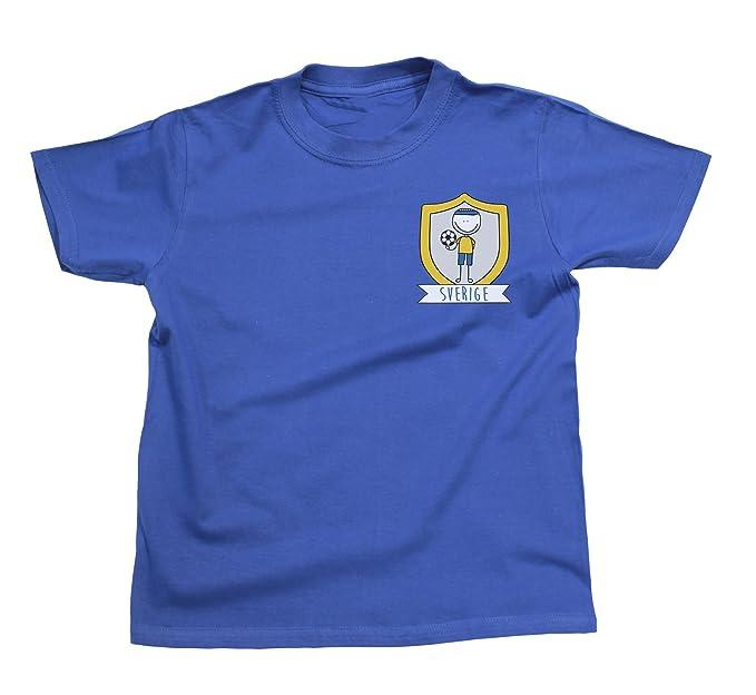 Niños O Niñas Sweden Fútbol Doodle Team Badge Camiseta Copa Mundial 2018 Kids Fan Sports: Amazon.es: Ropa y accesorios