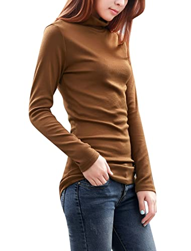 Allegra K Women Turtleneck Long Sleeve Fitted Knit Shirt Stretchy Tunic Tops