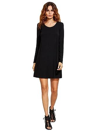 ROMWE Women&39s Long Sleeve Loose Casual Tunic T-Shirt Dress at ...