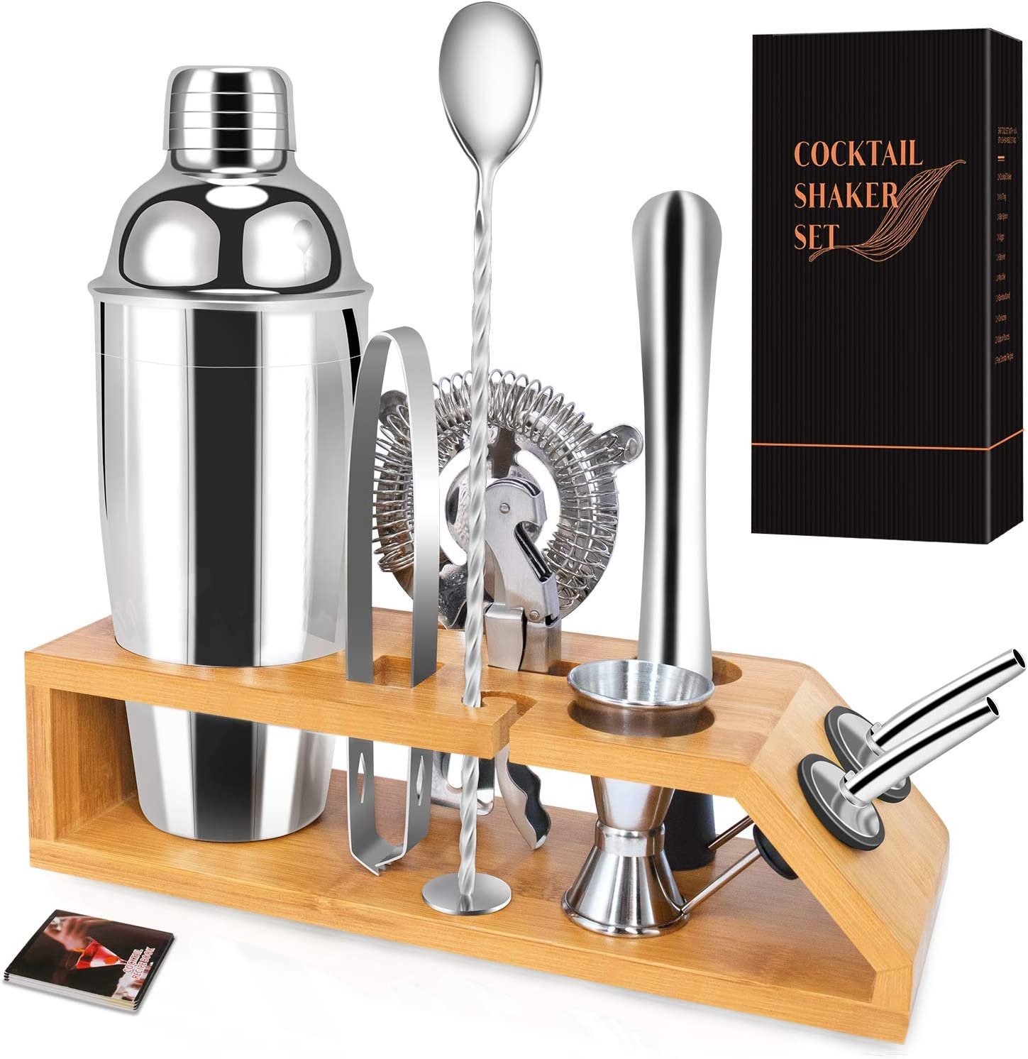 Cocktail Shaker Set with Stand-10 Pieces Stainless Steel Bartender Kit with Bamboo Base Includes Martini Shaker (25oz),Jigger,Strainer,Spoon and More for Wonderful and Colorful Experience
