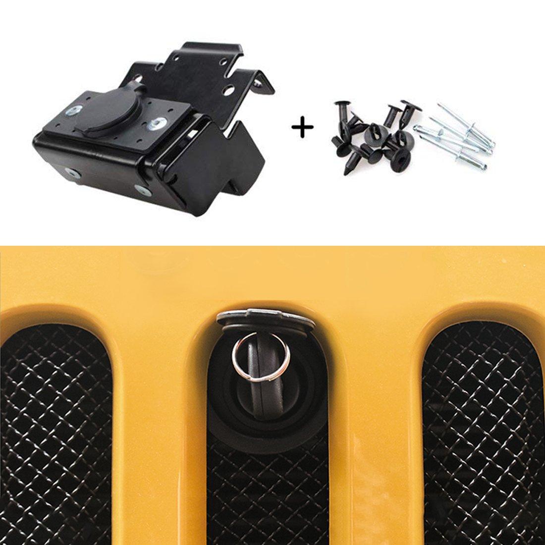 E-cowlboy Hood Lock Anti-Theft Alarm System Kit Assembly For 2007-2018 Jeep Wrangler JK JKU 2WD 4WD 82213051-AB QI-845