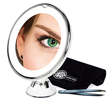 Best Lighted Makeup Mirror 10x   Magnification For Flawless Makeup  Application U0026 Eyebrow Tweezer Use,