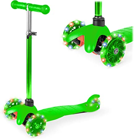 Best Choice Products Kids Mini Kick Scooter Toy w/ Light-Up Wheels, Height Adjustable T-Bar, Foot Break