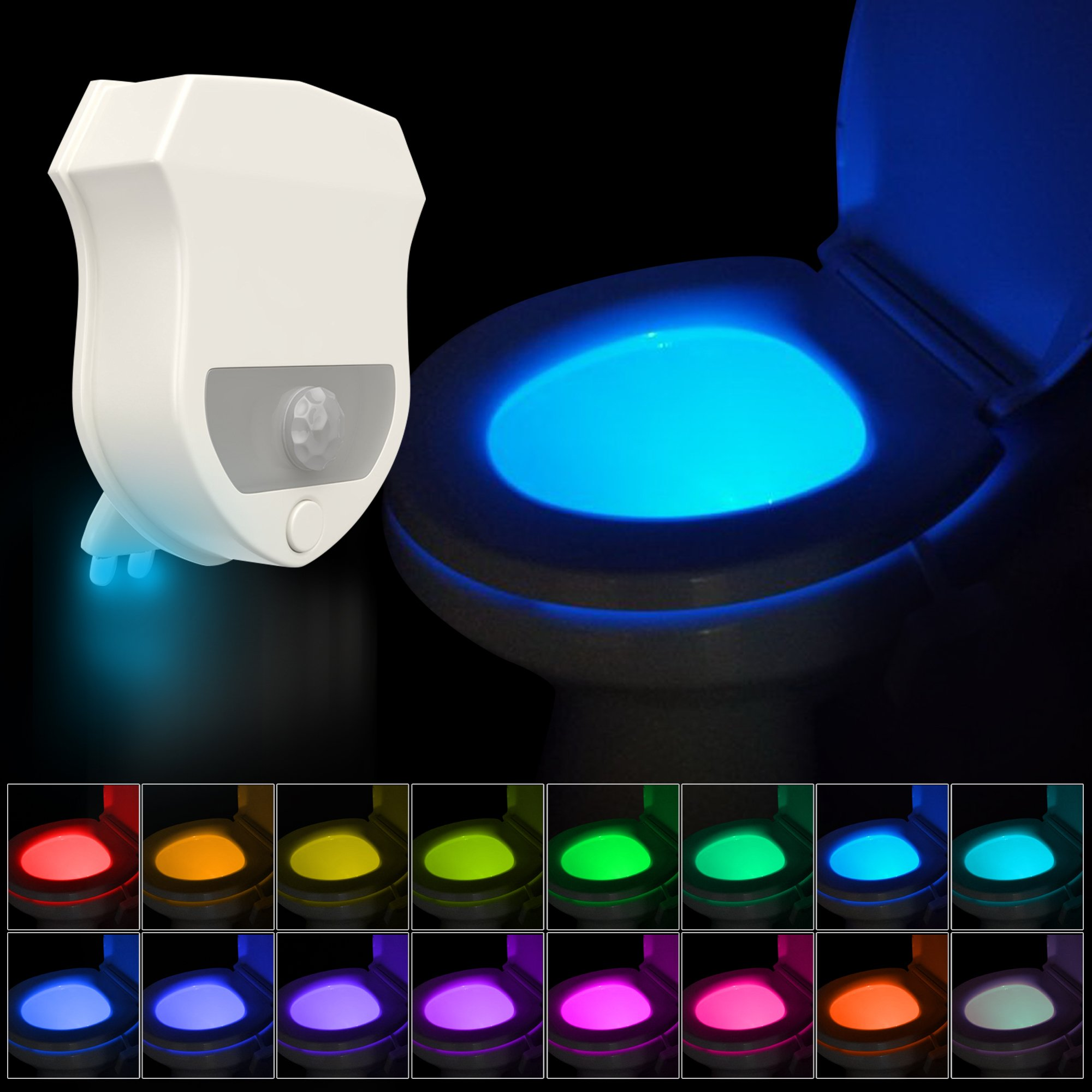 16-Color Motion Activated Toilet Light Night Toilit Light LED Light Changing Tolet Bowl Nightlight for Bathroom Perfect Decorating illumibowl Water Toilite Light