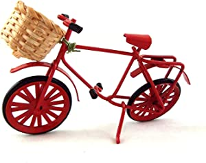Melody Jane Dolls Houses House Miniature Garden Shop Accessory Red Shopping Bike Bicycle W Basket