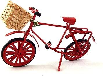 Amazon.es: Melody Jane Casas de Muñecas Miniatura Jardín Tienda Accesorio Rojo Bicicleta con Cesta: Juguetes y juegos