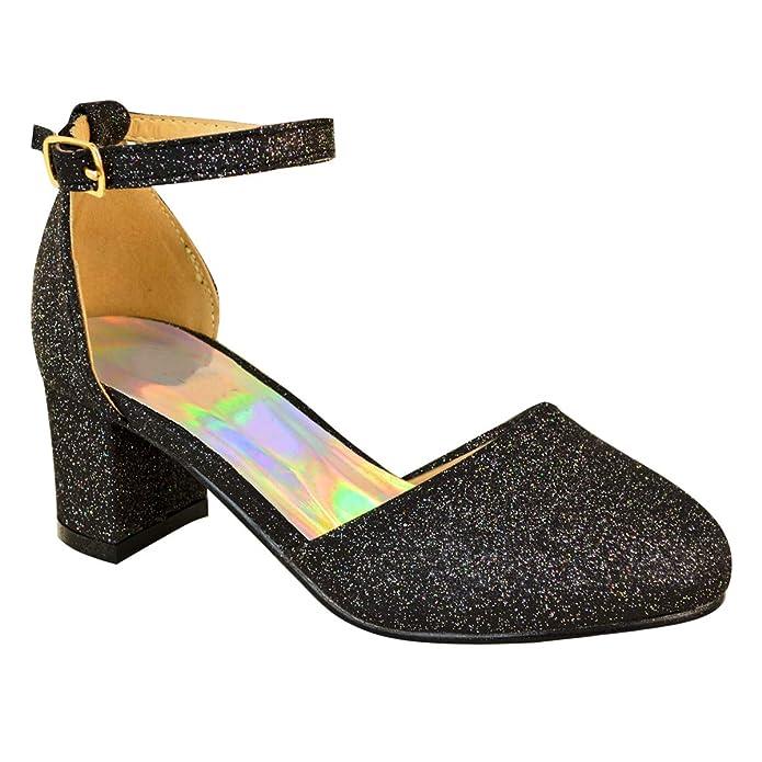 cd9d7363c500 Childrens Girls Kids MID Low HIGH Heel Diamante Party Shoes Bridal Sandals  Size: Amazon.co.uk: Shoes & Bags