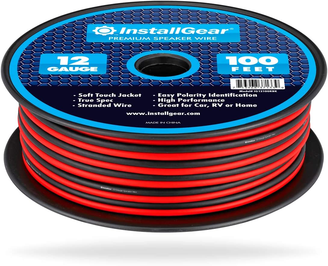 InstallGear 12 Gauge AWG 100ft Speaker Wire True Spec and Soft Touch Cable - Red/Black
