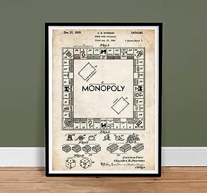 Amazon monopoly board game us patent print reproduction gift monopoly board game us patent print reproduction gift 1935 unframed 5quot malvernweather Choice Image