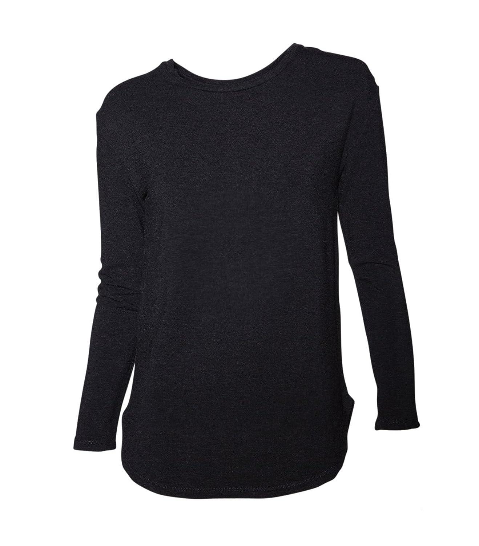 MAJESTIC Damen Langarmshirt Longsleeve T-Shirt Langarm - Viskose grau