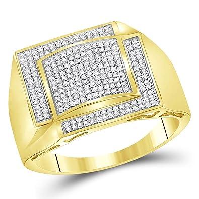 e40ddee91ec9 Diamond2Deal Hombre Unisex Mujer 10 quilates Oro amarillo de 10 quilates  redonda IJ diamante blanco  Amazon.es  Joyería
