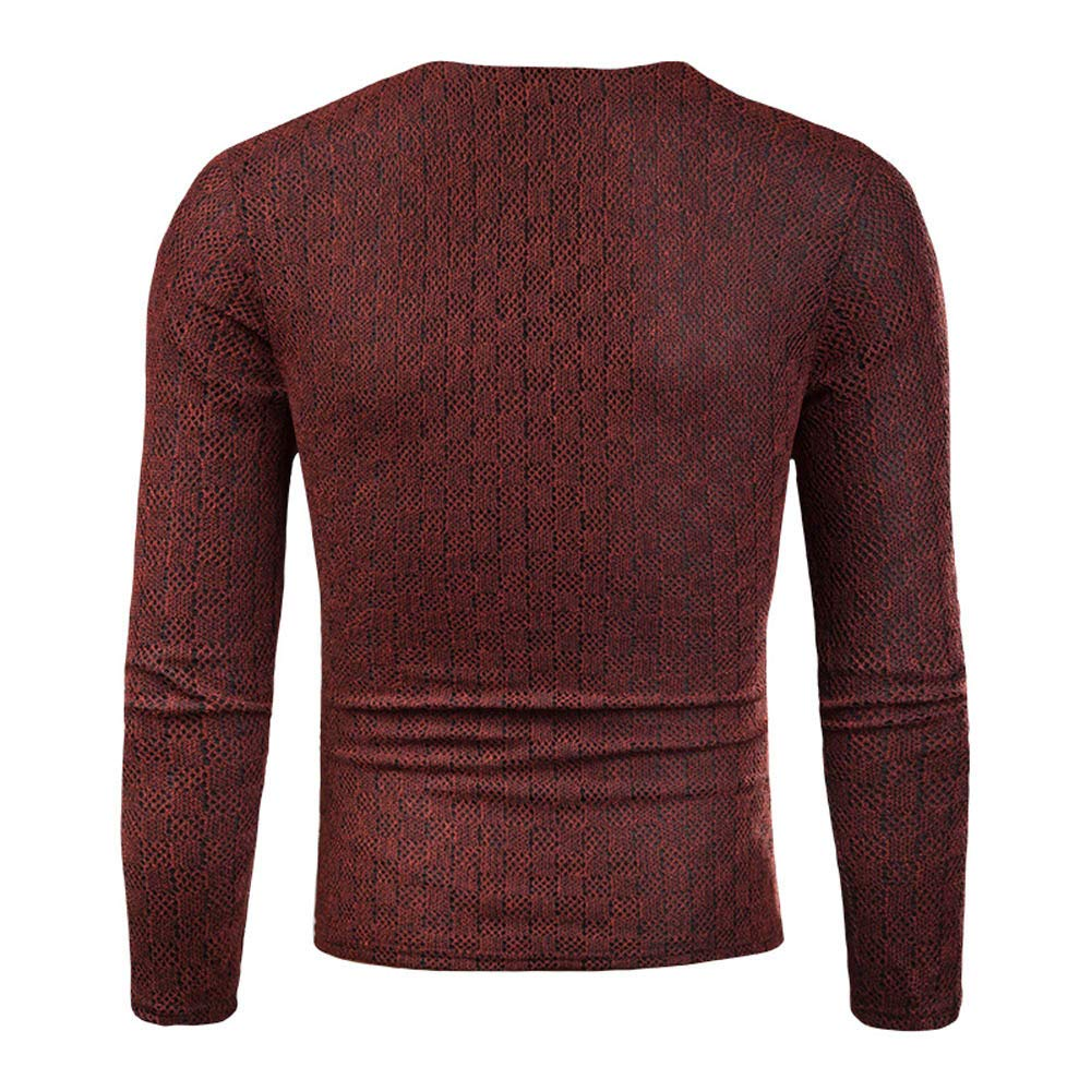 Mens Slim Comfortably Knitted Long Sleeve V-Neck Sweaters Lightweight Casual Pullover Tops