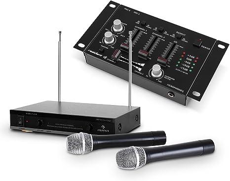 Set de DJ mesa mezclas 3 canales + 2x micrófono inalámbrico (Micro ...