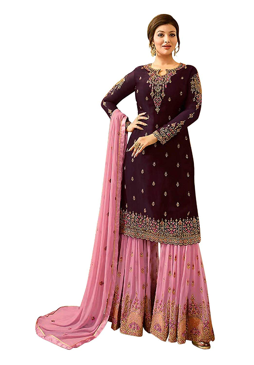 Women Faux Georgette Embroidered Indian Pakistani Sharara Style Salwar Suit (X-Small, Purple)