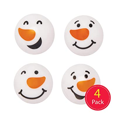 Baker Ross Snowman Light-up High Bounce Balls, Christmas Arts and Crafts (Pack of 4): Toys & Games
