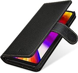StilGut Talis Housse LG G7 ThinQ avec Porte-Cartes en Cuir véritable. Etui Portefeuille pour LG G7 ThinQ à Ouverture latérale et Languette magnétique, Noir