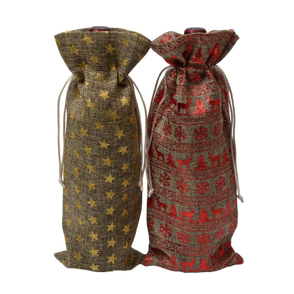 Eklead Weinflasche Geschenktuten Sackleinen Flasche Wein Taschen
