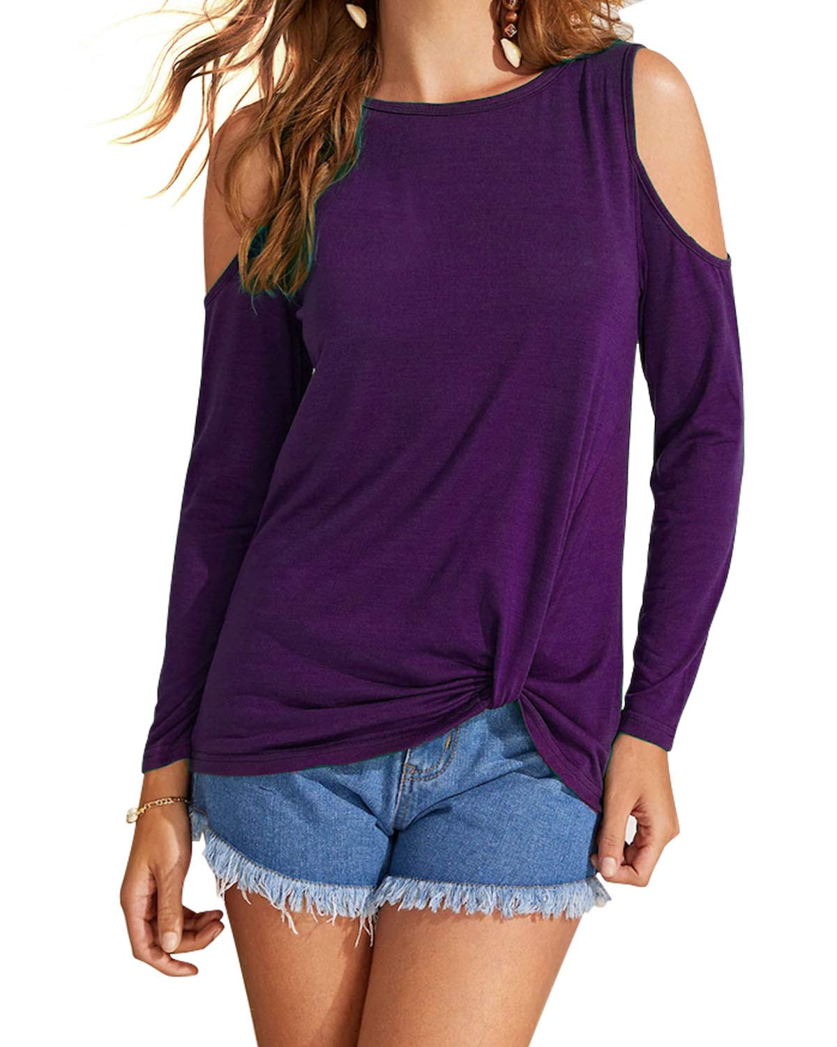 Eanklosco Womens Long Sleeve Cold Shoulder Cut Out T Shirts Casual Knot Tunic Tops (Purple, M)