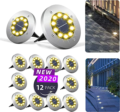 Mega-Loopolis 12 Pack 10 LED Solar Ground Lights Upgrade Ultra Bright lamp Beads Solar Garden Lamp Disk Lights Garden Lights Waterproof Suitable for Patio, Yard, Lawn, Passage, Driveway, Campground